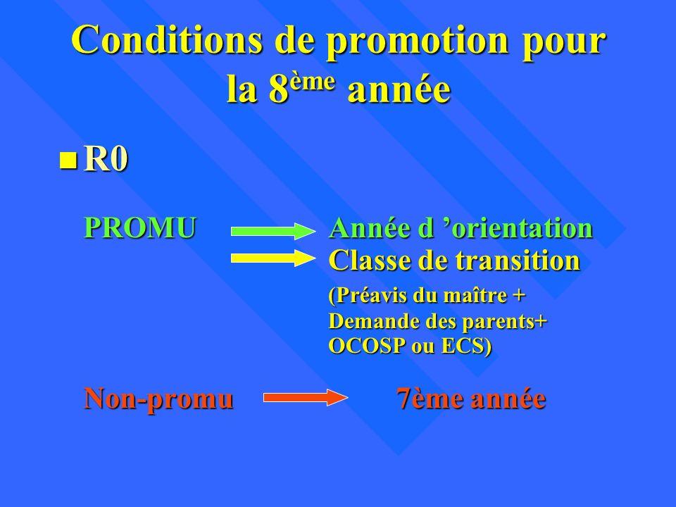 Conditions de promotion pour la 8 ème année n R0 PROMUAnnée d orientation Classe de transition (Préavis du maître + Demande des parents+ OCOSP ou ECS)