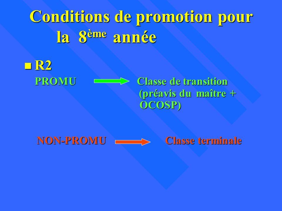 Conditions de promotion pour la 8 ème année n R2 PROMU Classe de transition (préavis du maître + OCOSP) NON-PROMUClasse terminale
