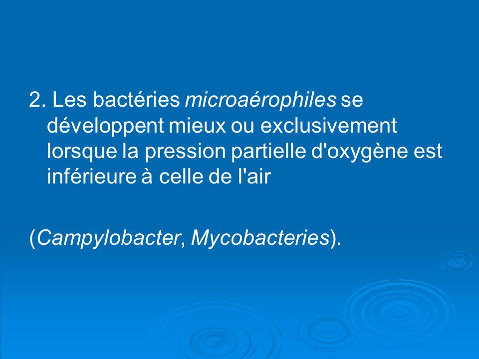 2. Les bactéries microaérophiles se développent mieux ou exclusivement lorsque la pression partielle d'oxygène est inférieure à celle de l'air (Campyl