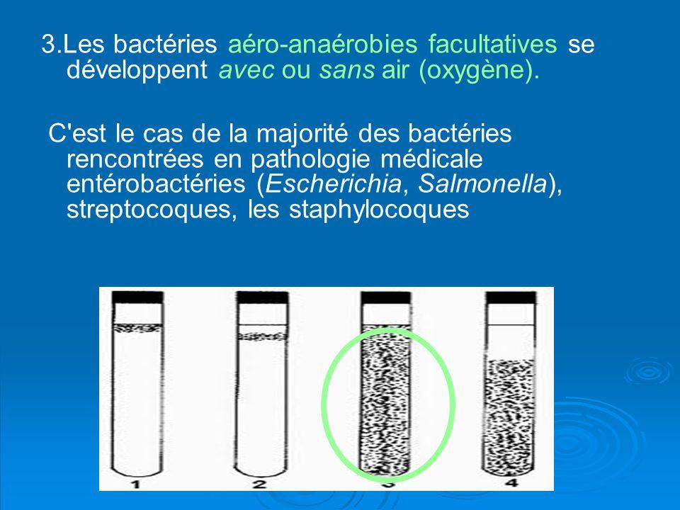 3.Les bactéries aéro-anaérobies facultatives se développent avec ou sans air (oxygène). C'est le cas de la majorité des bactéries rencontrées en patho