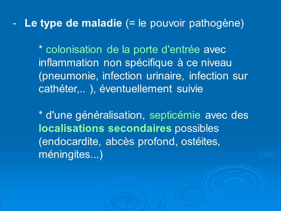 -Le type de maladie (= le pouvoir pathogène) * colonisation de la porte d'entrée avec inflammation non spécifique à ce niveau (pneumonie, infection ur