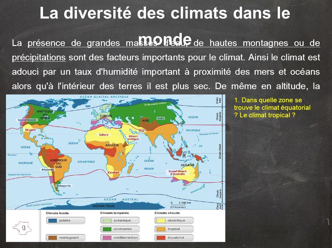 Les climats se répartissent de la même façon dans l hémisphère Nord et dans l hémisphère Sud.