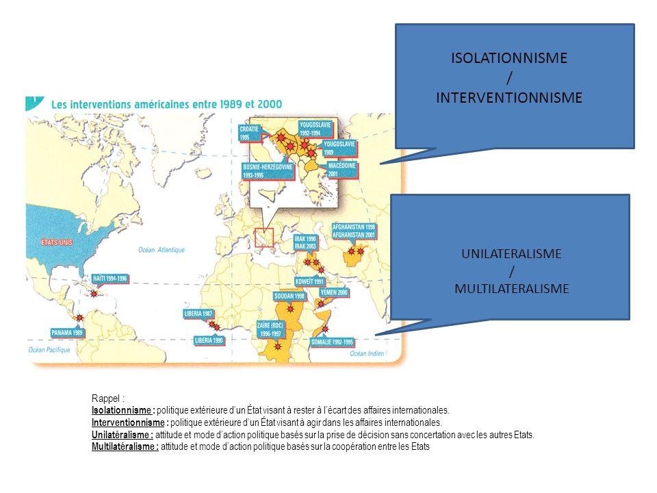ISOLATIONNISME / INTERVENTIONNISME UNILATERALISME / MULTILATERALISME Rappel : Isolationnisme : politique extérieure dun État visant à rester à lécart des affaires internationales.