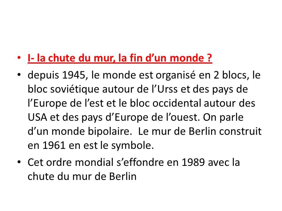 I- la chute du mur, la fin dun monde ? depuis 1945, le monde est organisé en 2 blocs, le bloc soviétique autour de lUrss et des pays de lEurope de les