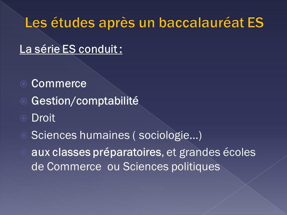 La série ES conduit : Commerce Gestion/comptabilité Droit Sciences humaines ( sociologie…) aux classes préparatoires, et grandes écoles de Commerce ou Sciences politiques