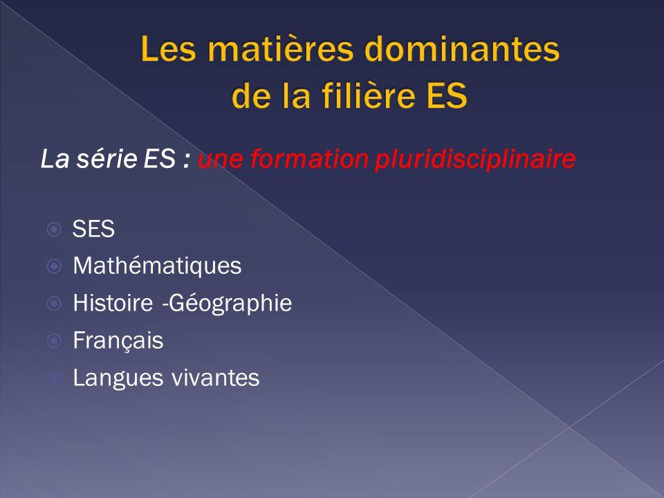 La série ES : une formation pluridisciplinaire SES Mathématiques Histoire -Géographie Français Langues vivantes