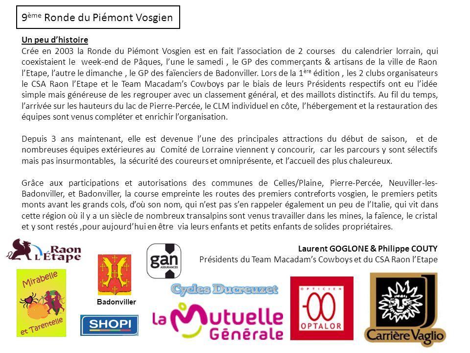 9 ème Ronde du Piémont Vosgien Un peu dhistoire Crée en 2003 la Ronde du Piémont Vosgien est en fait lassociation de 2 courses du calendrier lorrain,