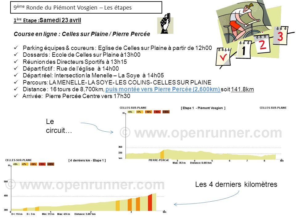 9 ème Ronde du Piémont Vosgien – Les étapes 1 ère Etape : Samedi 23 avril Course en ligne : Celles sur Plaine / Pierre Percée Parking équipes & coureu