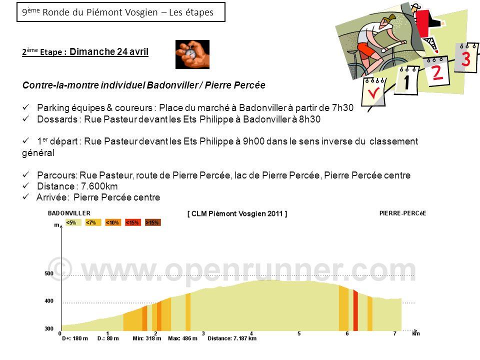 9 ème Ronde du Piémont Vosgien – Les étapes 2 ème Etape : Dimanche 24 avril Contre-la-montre individuel Badonviller / Pierre Percée Parking équipes &