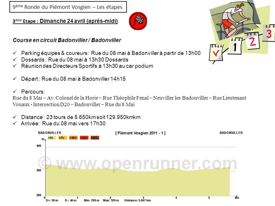 9 ème Ronde du Piémont Vosgien – Les étapes 3 ème Etape : Dimanche 24 avril (après-midi) Course en circuit Badonviller / Badonviller Parking équipes &