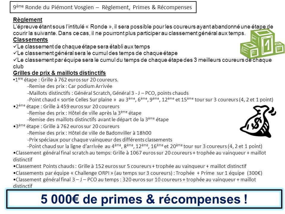 9 ème Ronde du Piémont Vosgien – Règlement, Primes & Récompenses Règlement Lépreuve étant sous lintitulé « Ronde », il sera possible pour les coureurs