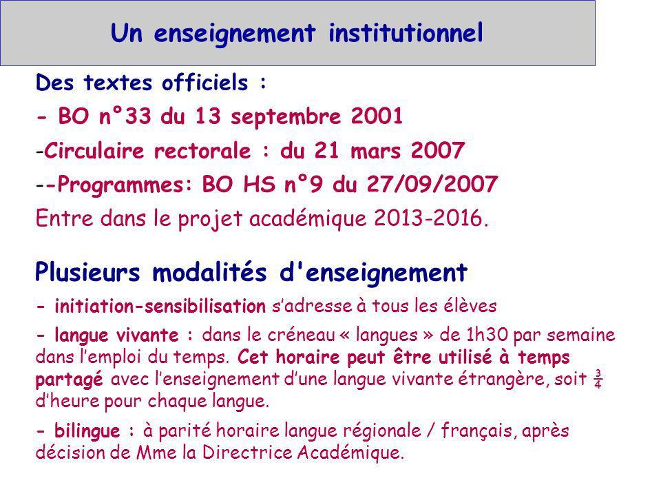 Un enseignement institutionnel Des textes officiels : - BO n°33 du 13 septembre 2001 -Circulaire rectorale : du 21 mars 2007 --Programmes: BO HS n°9 d