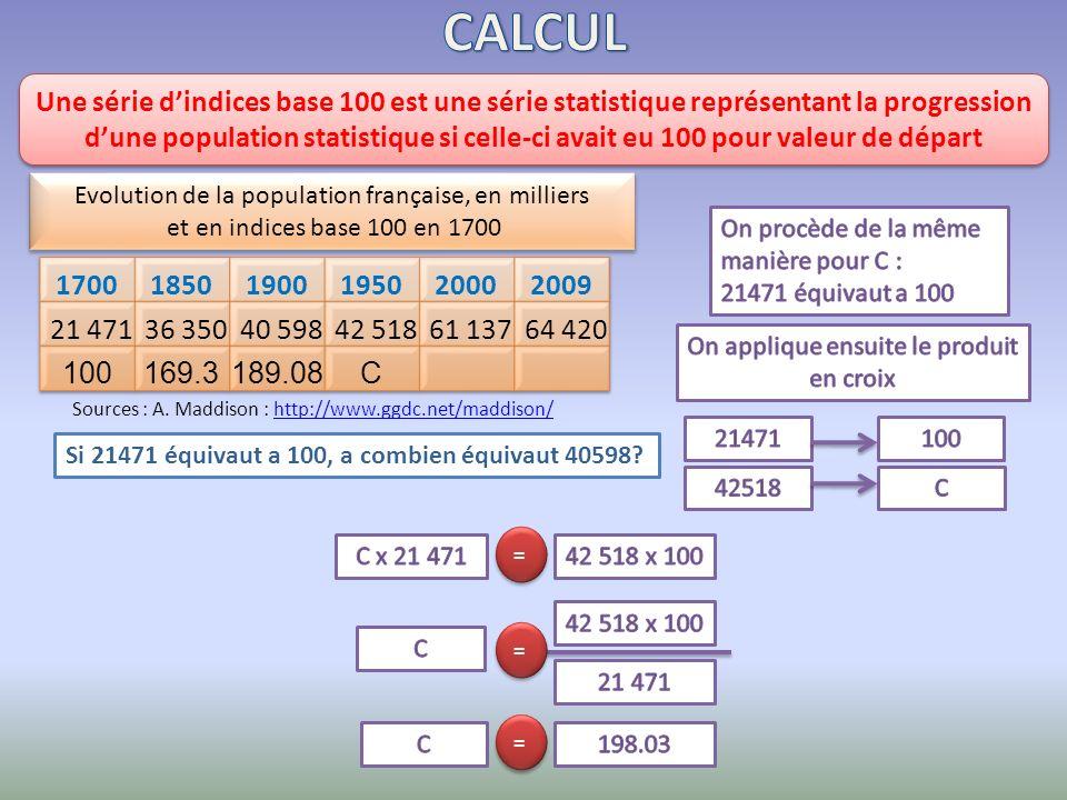 Si 21471 équivaut a 100, a combien équivaut 40598? Une série dindices base 100 est une série statistique représentant la progression dune population s