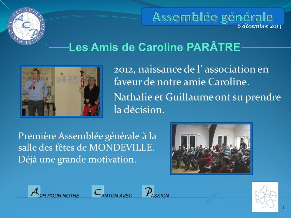 2012, naissance de l association en faveur de notre amie Caroline. Nathalie et Guillaume ont su prendre la décision. 6 décembre 2013 Première Assemblé