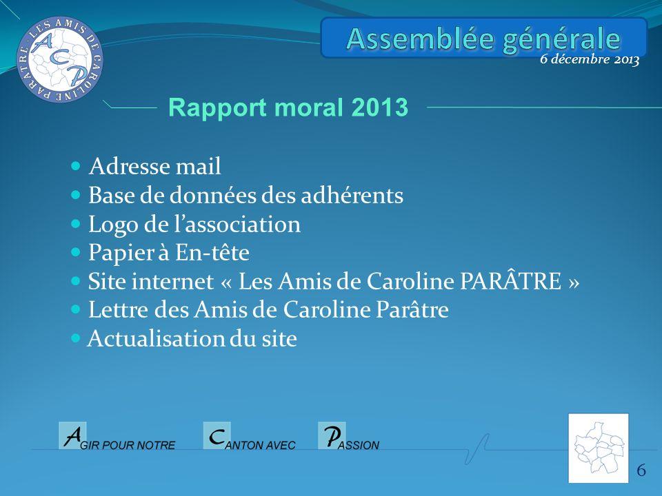 6 6 décembre 2013 Rapport moral 2013 Adresse mail Base de données des adhérents Logo de lassociation Papier à En-tête Site internet « Les Amis de Caro