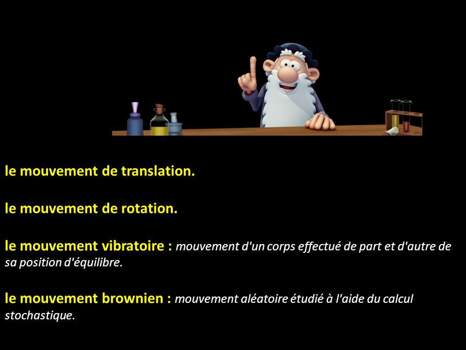 le mouvement uniforme : mouvement dont la vitesse (en norme) est constante. le mouvement uniformément accéléré : mouvement dont la vitesse varie linéa