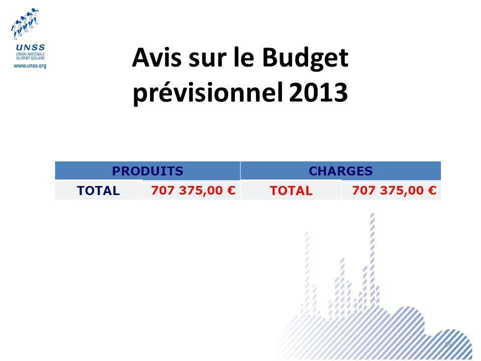 Avis sur le Budget prévisionnel 2013 PRODUITSCHARGES TOTAL 707 375,00 TOTAL 707 375,00 16