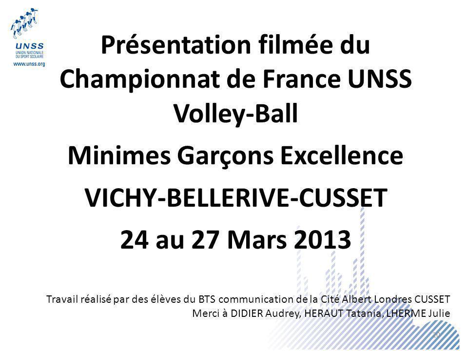 Présentation filmée du Championnat de France UNSS Volley-Ball Minimes Garçons Excellence VICHY-BELLERIVE-CUSSET 24 au 27 Mars 2013 Travail réalisé par
