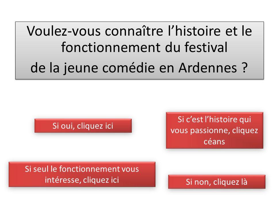 Voulez-vous connaître lhistoire et le fonctionnement du festival de la jeune comédie en Ardennes .