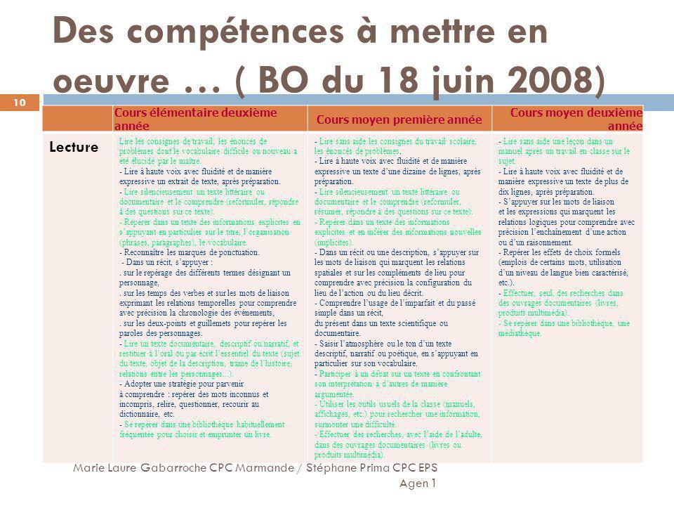 Des compétences à mettre en oeuvre … ( BO du 18 juin 2008) Marie Laure Gabarroche CPC Marmande / Stéphane Prima CPC EPS Agen 1 10 Cours élémentaire de
