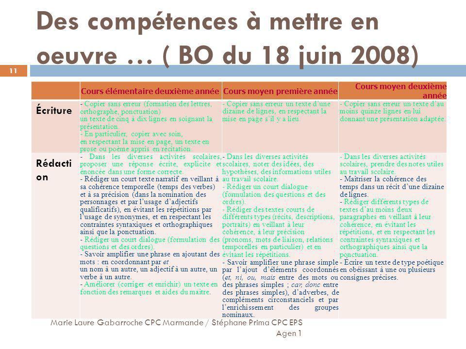 Des compétences à mettre en oeuvre … ( BO du 18 juin 2008) Marie Laure Gabarroche CPC Marmande / Stéphane Prima CPC EPS Agen 1 11 Cours élémentaire de