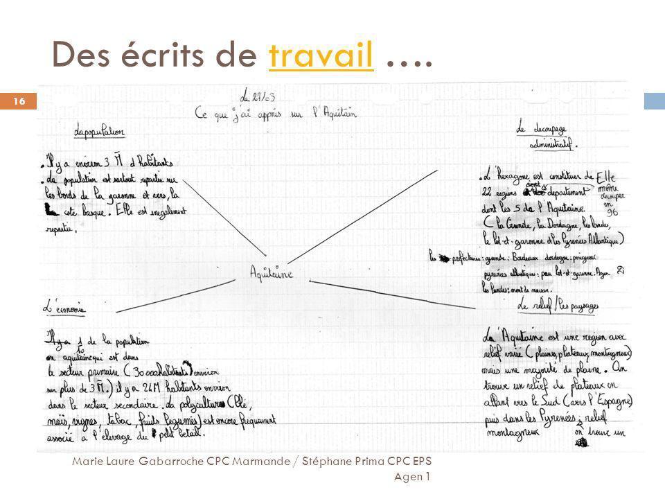 Des écrits de travail ….travail Marie Laure Gabarroche CPC Marmande / Stéphane Prima CPC EPS Agen 1 16