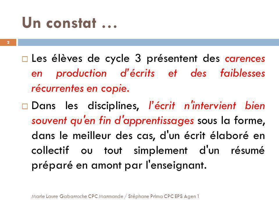 Un constat … Les élèves de cycle 3 présentent des carences en production décrits et des faiblesses récurrentes en copie. Dans les disciplines, lécrit