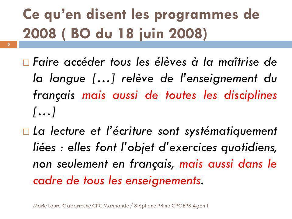 Ce quen disent les programmes de 2008 ( BO du 18 juin 2008) 5 Faire accéder tous les élèves à la maîtrise de la langue […] relève de lenseignement du
