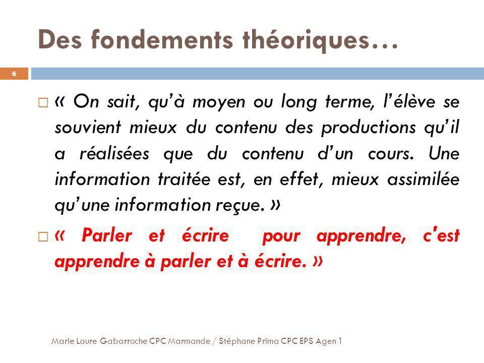 Des fondements théoriques… 6 « On sait, quà moyen ou long terme, lélève se souvient mieux du contenu des productions quil a réalisées que du contenu d