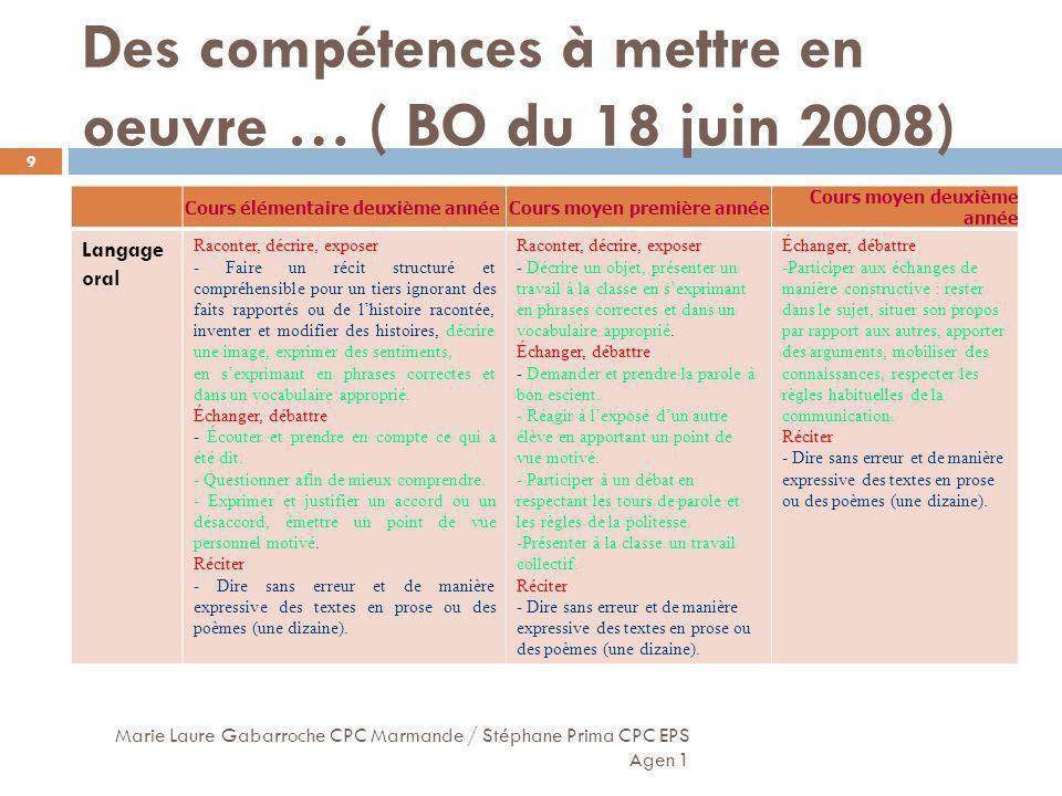 Des compétences à mettre en oeuvre … ( BO du 18 juin 2008) Marie Laure Gabarroche CPC Marmande / Stéphane Prima CPC EPS Agen 1 9 Cours élémentaire deu