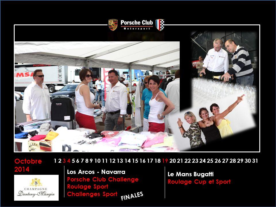 Octobre 2014 1 2 3 4 5 6 7 8 9 10 11 12 13 14 15 16 17 18 19 20 21 22 23 24 25 26 27 28 29 30 31 Le Mans Bugatti Roulage Cup et Sport Los Arcos - Navarra Porsche Club Challenge Roulage Sport Challenges Sport FINALES