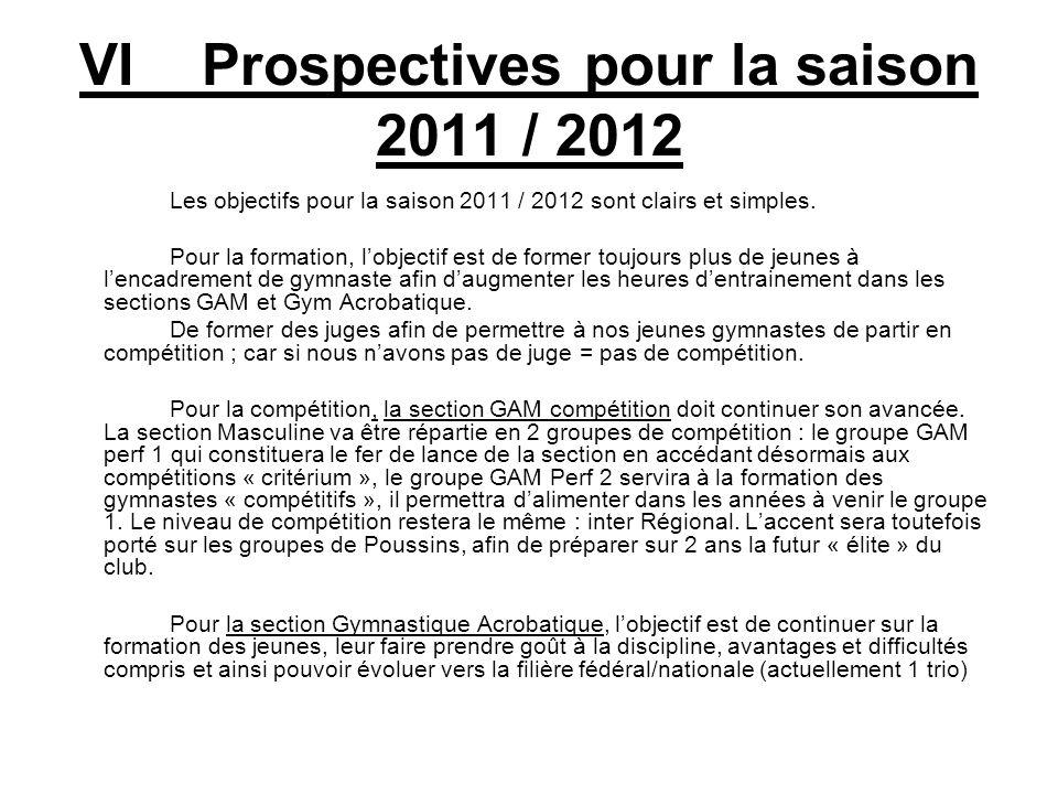 VI Prospectives pour la saison 2011 / 2012 Les objectifs pour la saison 2011 / 2012 sont clairs et simples. Pour la formation, lobjectif est de former