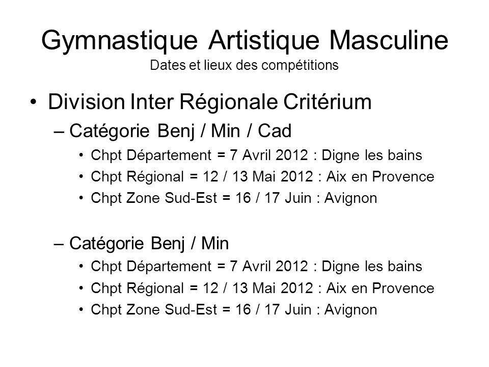 Gymnastique Artistique Masculine Dates et lieux des compétitions Division Inter Régionale Critérium –Catégorie Benj / Min / Cad Chpt Département = 7 A