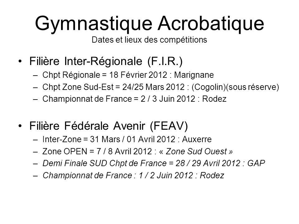 Gymnastique Acrobatique Dates et lieux des compétitions Filière Inter-Régionale (F.I.R.) –Chpt Régionale = 18 Février 2012 : Marignane –Chpt Zone Sud-