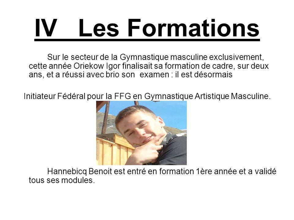 IV Les Formations Sur le secteur de la Gymnastique masculine exclusivement, cette année Oriekow Igor finalisait sa formation de cadre, sur deux ans, e
