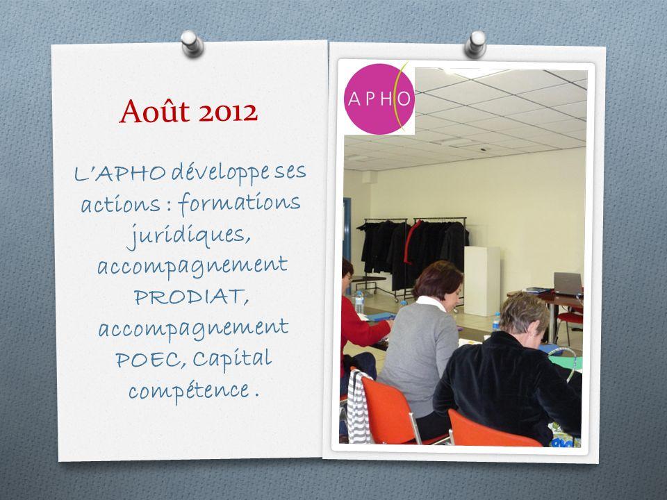 Août 2012 LAPHO développe ses actions : formations juridiques, accompagnement PRODIAT, accompagnement POEC, Capital compétence.