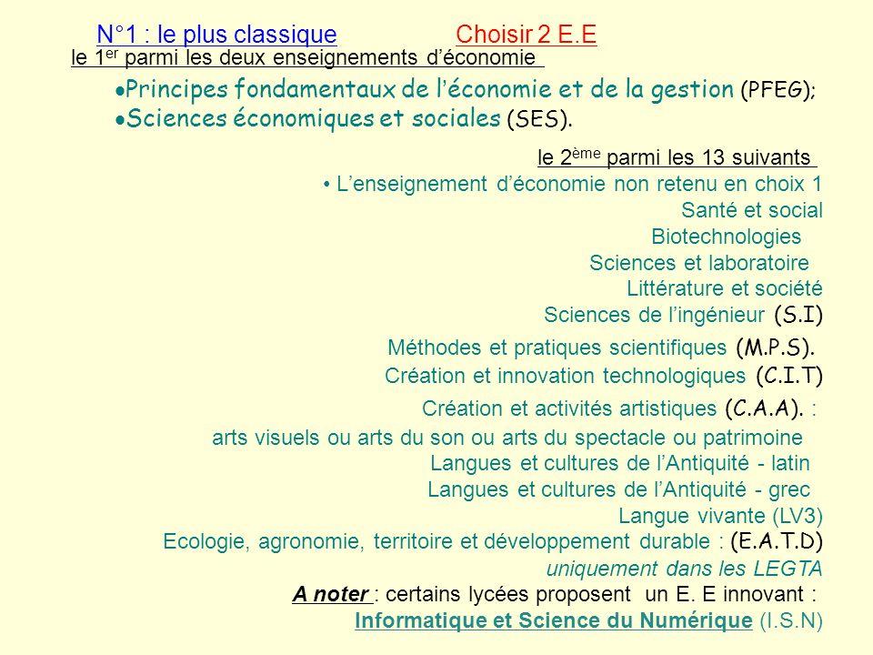 le 1 er parmi les deux enseignements déconomie Principes fondamentaux de léconomie et de la gestion (PFEG); Sciences économiques et sociales (SES). le