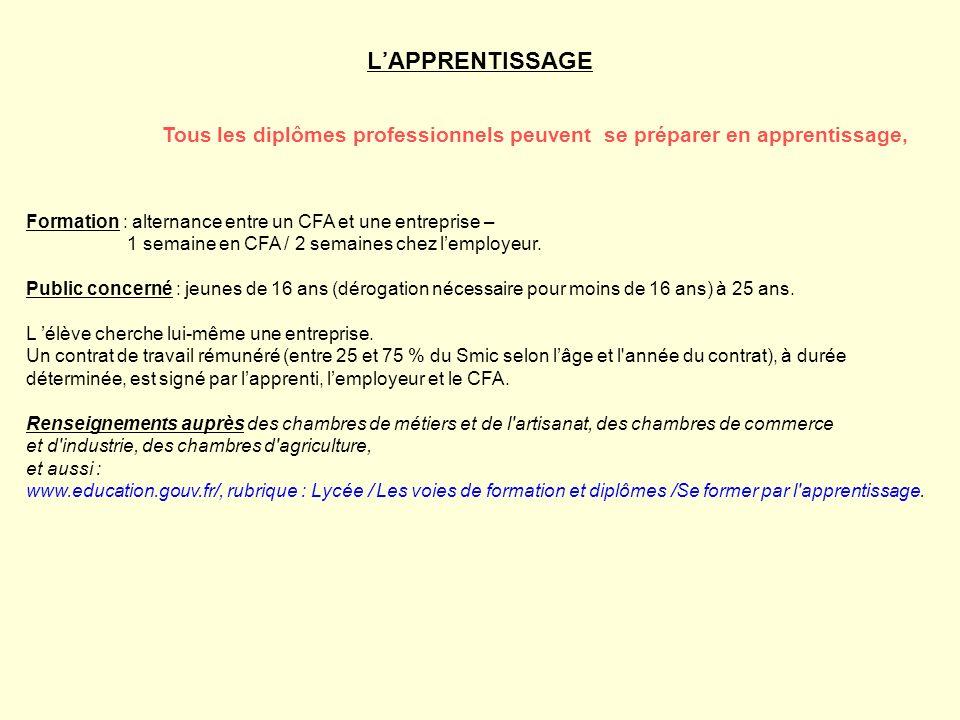 Tous les diplômes professionnels peuvent se préparer en apprentissage, LAPPRENTISSAGE Formation : alternance entre un CFA et une entreprise – 1 semain