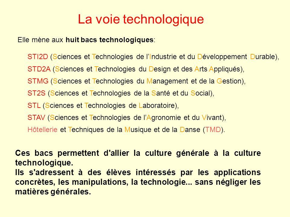 La voie technologique Ces bacs permettent d'allier la culture générale à la culture technologique. Ils s'adressent à des élèves intéressés par les app