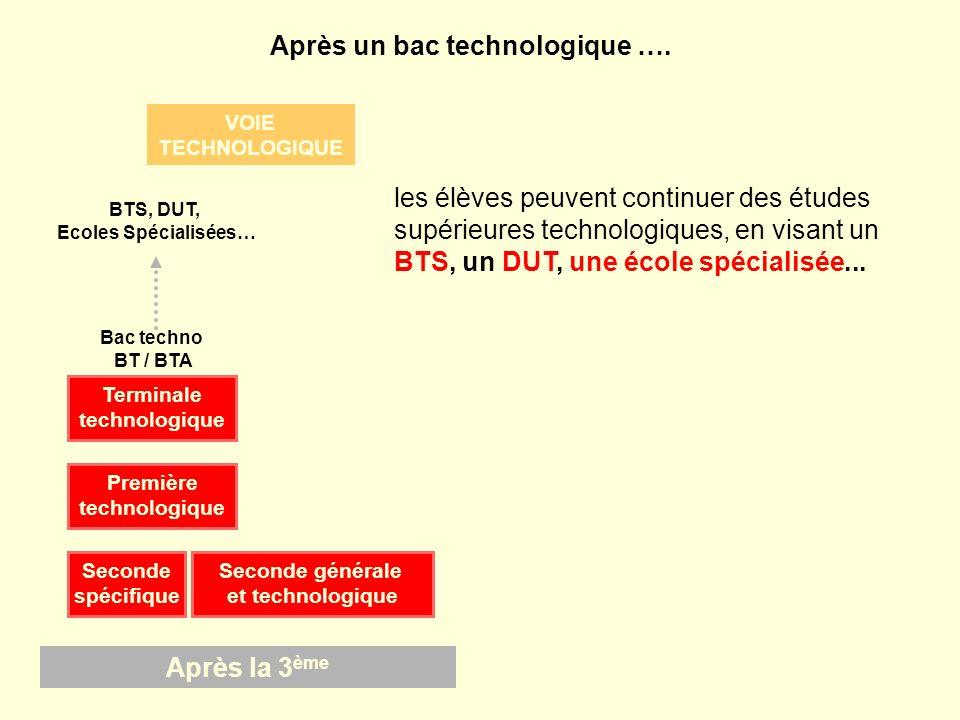 BTS, DUT, Ecoles Spécialisées… les élèves peuvent continuer des études supérieures technologiques, en visant un BTS, un DUT, une école spécialisée...