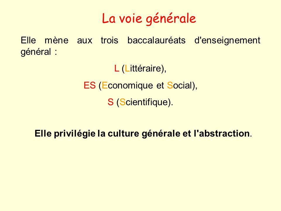 La voie générale Elle mène aux trois baccalauréats d'enseignement général : L (Littéraire), ES (Economique et Social), S (Scientifique). Elle privilég