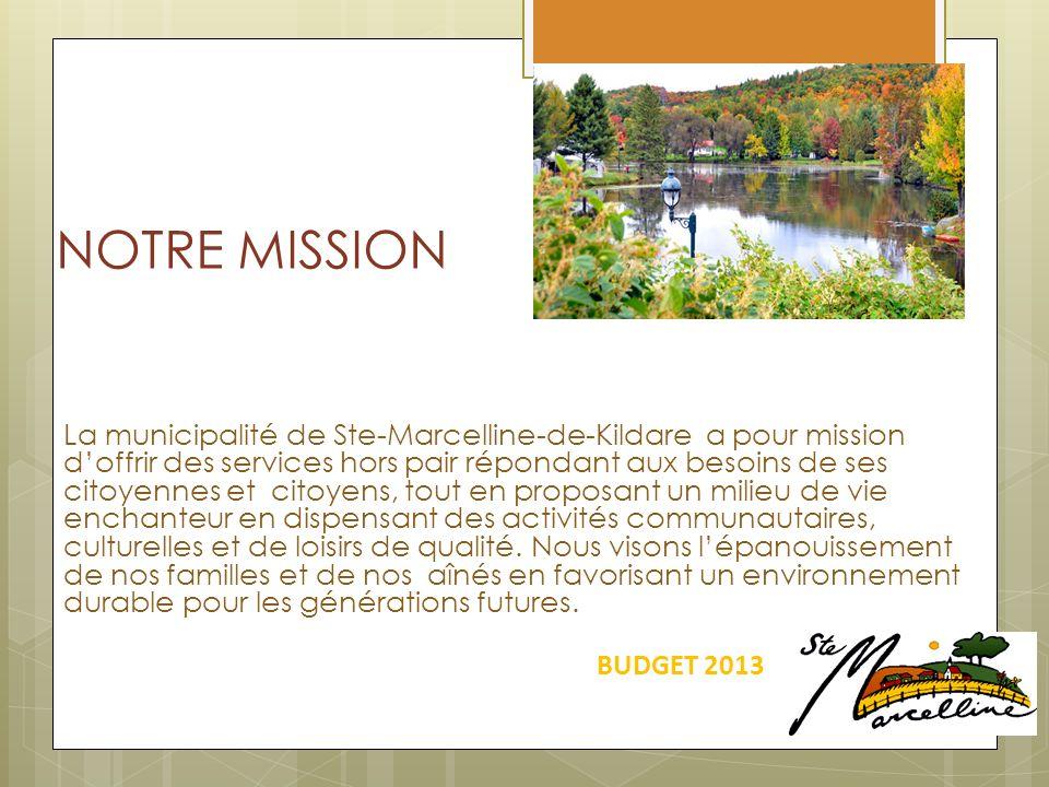 NOTRE MISSION La municipalité de Ste-Marcelline-de-Kildare a pour mission doffrir des services hors pair répondant aux besoins de ses citoyennes et citoyens, tout en proposant un milieu de vie enchanteur en dispensant des activités communautaires, culturelles et de loisirs de qualité.