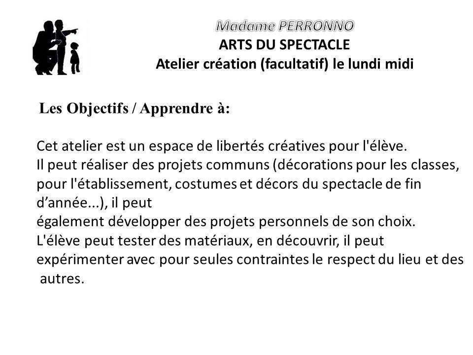 Les Objectifs / Apprendre à: Cet atelier est un espace de libertés créatives pour l élève.