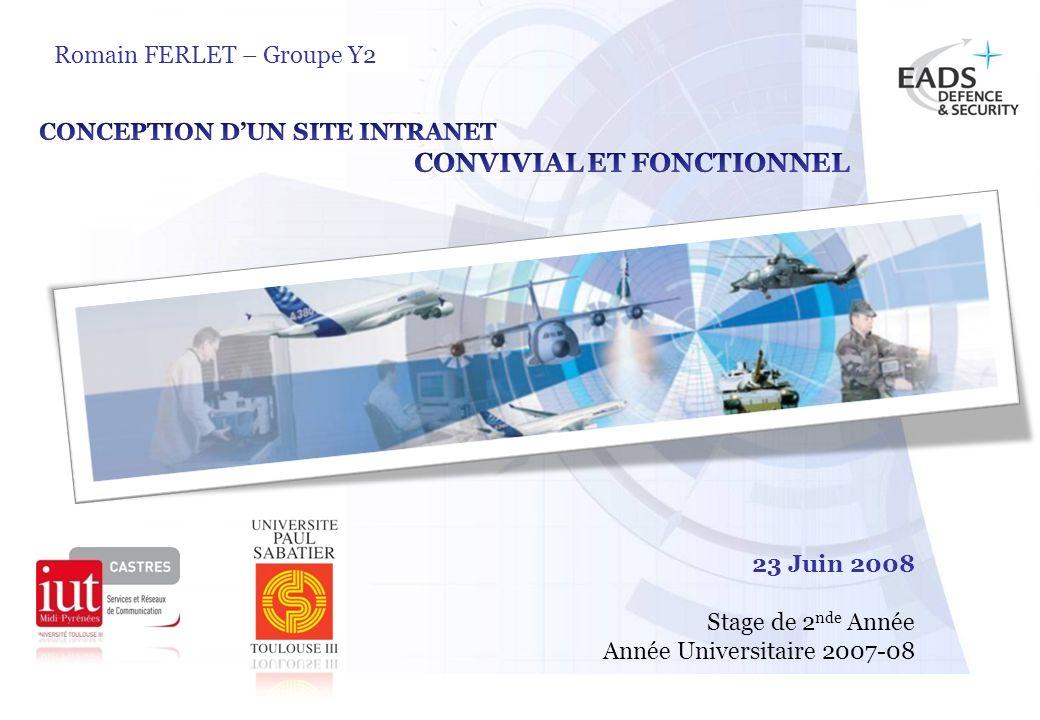 EADS TEST & SERVICES TSPage 1 © Copyright EADS TEST & SERVICES 2007 Romain FERLET – Groupe Y2 23 Juin 2008 Stage de 2 nde Année Année Universitaire 20
