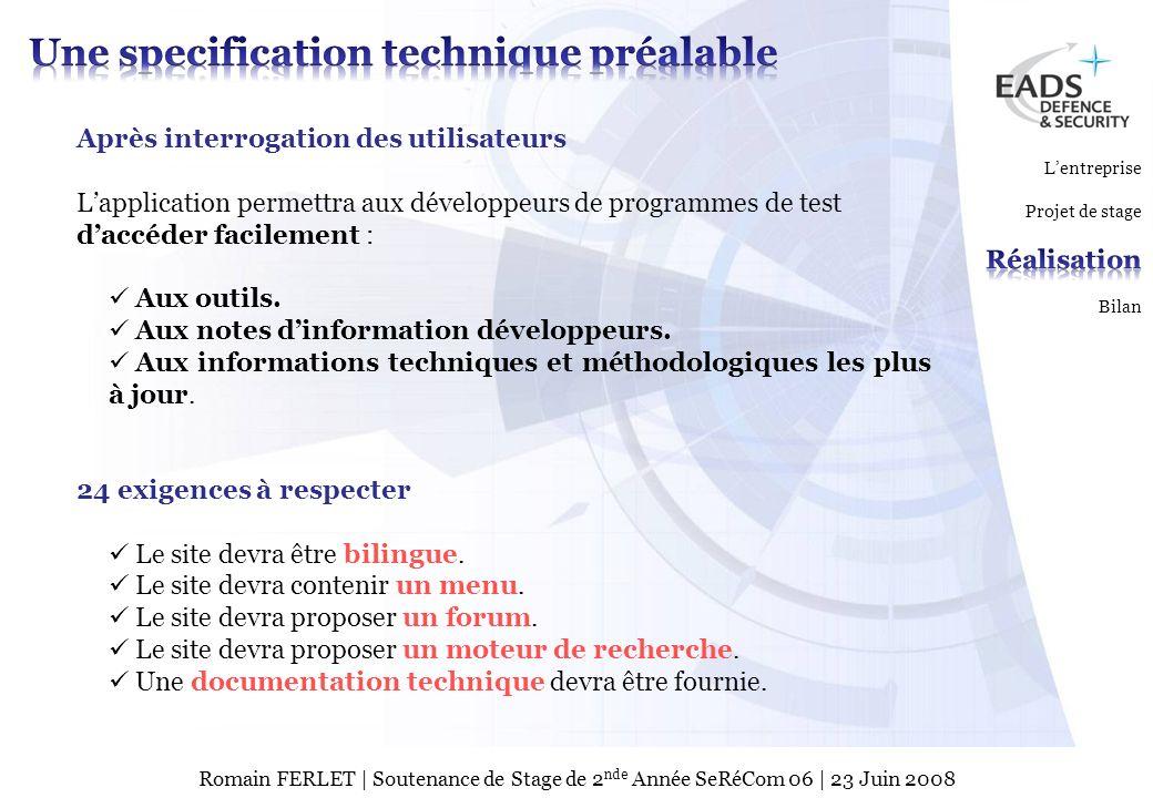 EADS TEST & SERVICES TSPage 7 © Copyright EADS TEST & SERVICES 2007 Romain FERLET | Soutenance de Stage de 2 nde Année SeRéCom 06 | 23 Juin 2008 Après