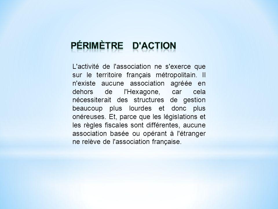 L'activité de l'association ne s'exerce que sur le territoire français métropolitain. Il n'existe aucune association agréée en dehors de l'Hexagone, c