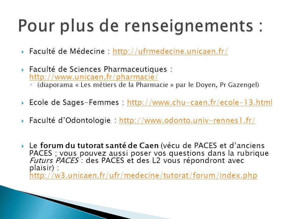 Faculté de Médecine : http://ufrmedecine.unicaen.fr/ http://ufrmedecine.unicaen.fr/ Faculté de Sciences Pharmaceutiques : http://www.unicaen.fr/pharma