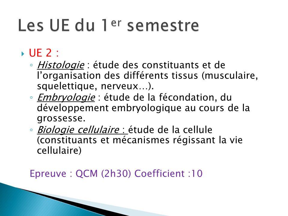 UE 2 : Histologie : étude des constituants et de lorganisation des différents tissus (musculaire, squelettique, nerveux…). Embryologie : étude de la f