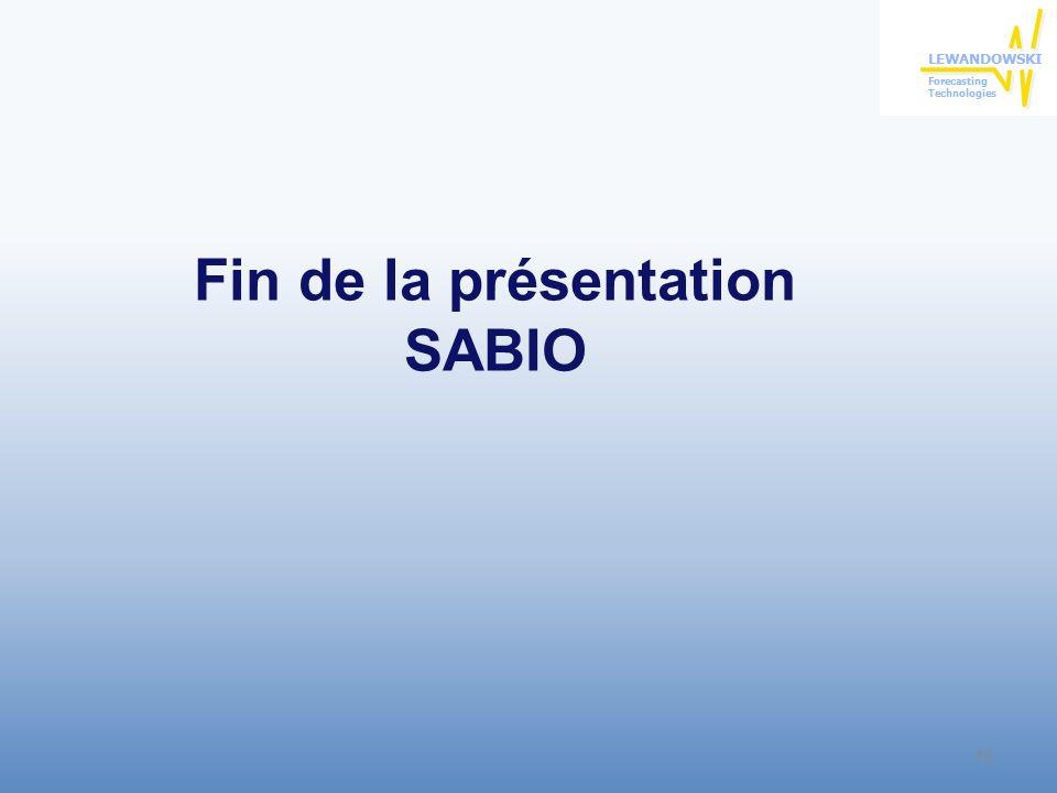 Fin de la présentation SABIO 18