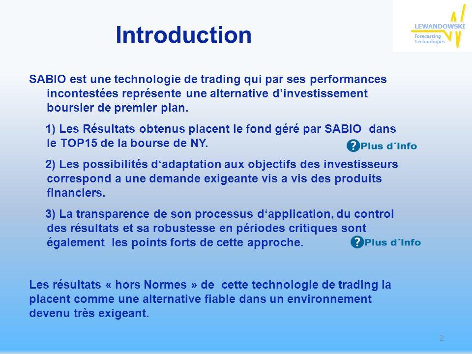 Introduction SABIO est une technologie de trading qui par ses performances incontestées représente une alternative dinvestissement boursier de premier plan.